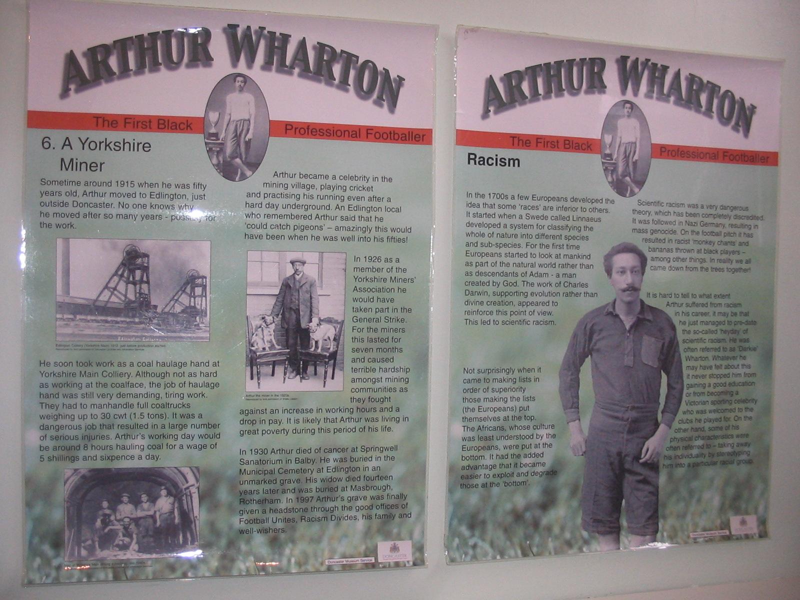 Arthur Wharton Doncaster Museum exhibition panels - 2 panels from the Arthur Wharton exhibition produced by Doncaster Museum.
