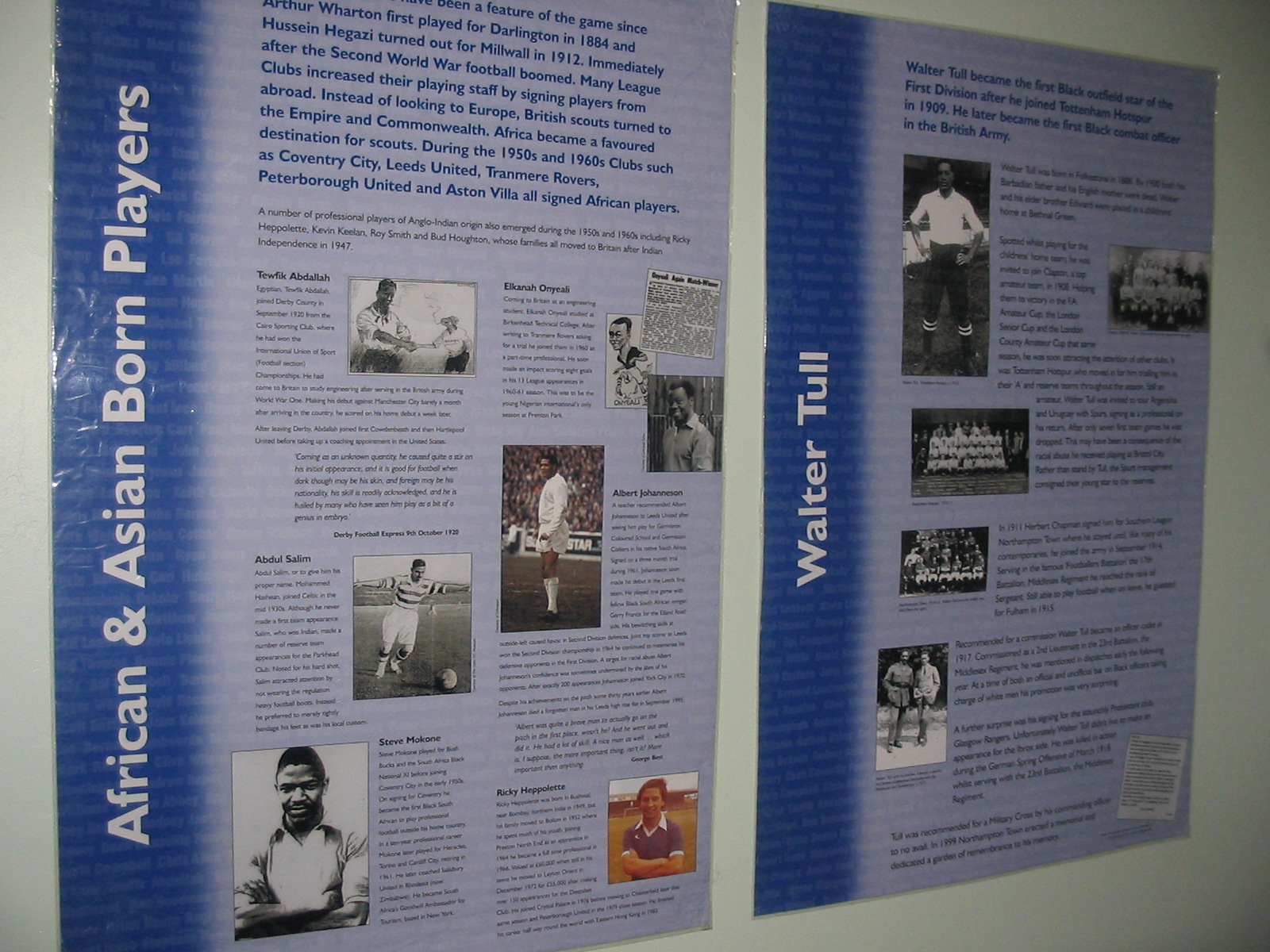 History of Black Footballers exhibition panels - 2 panels from the History of Black Footballers exhibition