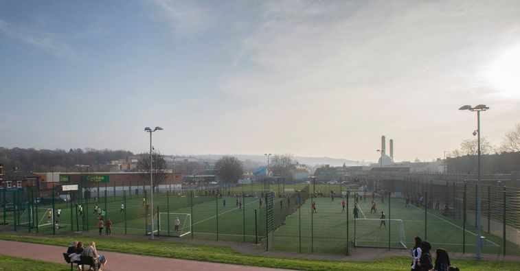 U-Mix Centre and pitches from the playground.
