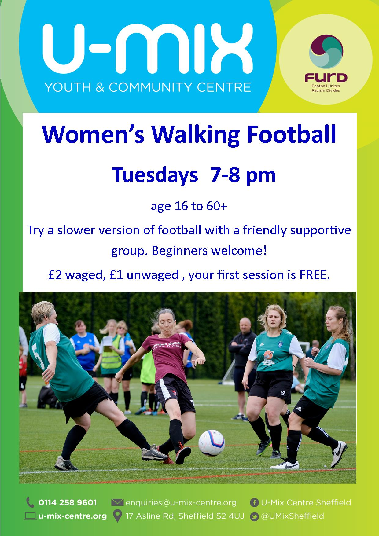 Women's walking football flyer