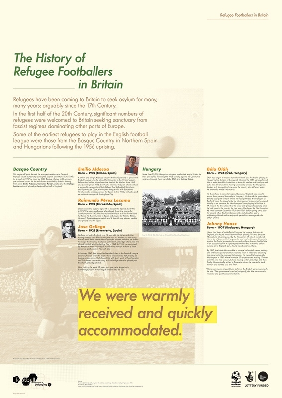 Refugee Footballers in Britain exhibition - History of Refugee Footballers in Britain exhibition panel